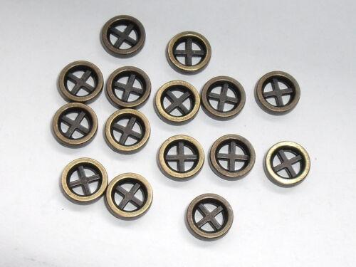 10 Stück Metallknöpfe Knöpfe Kreuzknopf  8 mm altmessing NEUWARE rostfrei #923#
