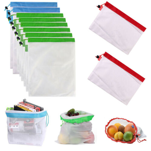 Mojesse Reusable Mesh Produce Bags 10pcs Washable See Through Eco Friendly Bag