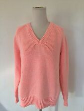 T Alexander Wang Chunky Cotton V-Neck Sweater Bright Pink Size Small