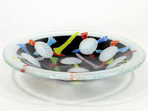 Peggy-Karr-GOLF-BALLS-amp-TEES-8-5-034-Round-Bowl-Fused-Glass-Mint