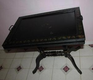 Radient Antique 1800's Rare Hitchcock Toleware Tea Table Removable Tray 1800-1899 Antiques
