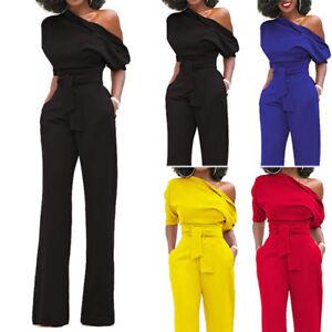 Ladies One Shoulder Wide Leg Jumpsuit Evening Dress Womens Playsuits
