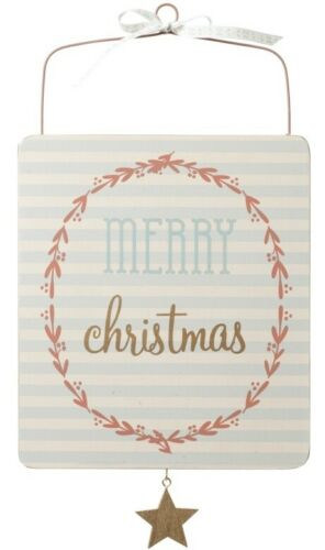Merry Christmas Pastel Pink Blue Sign Plaque Hanging Decoration Wooden Star