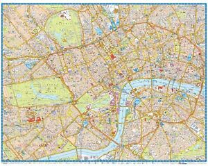 London Map Central.Details About Central London Super Scale Map 2018 Gloss Laminated Wall Map
