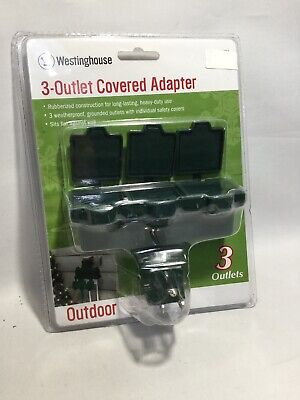 3-Pack Green Westinghouse 28114-7 Outdoor Heavy Duty Grounded 3-Outlet Adapter