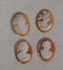 Superbe lot de 4 camées ancien - gravé sur coquillage - Buste de femme