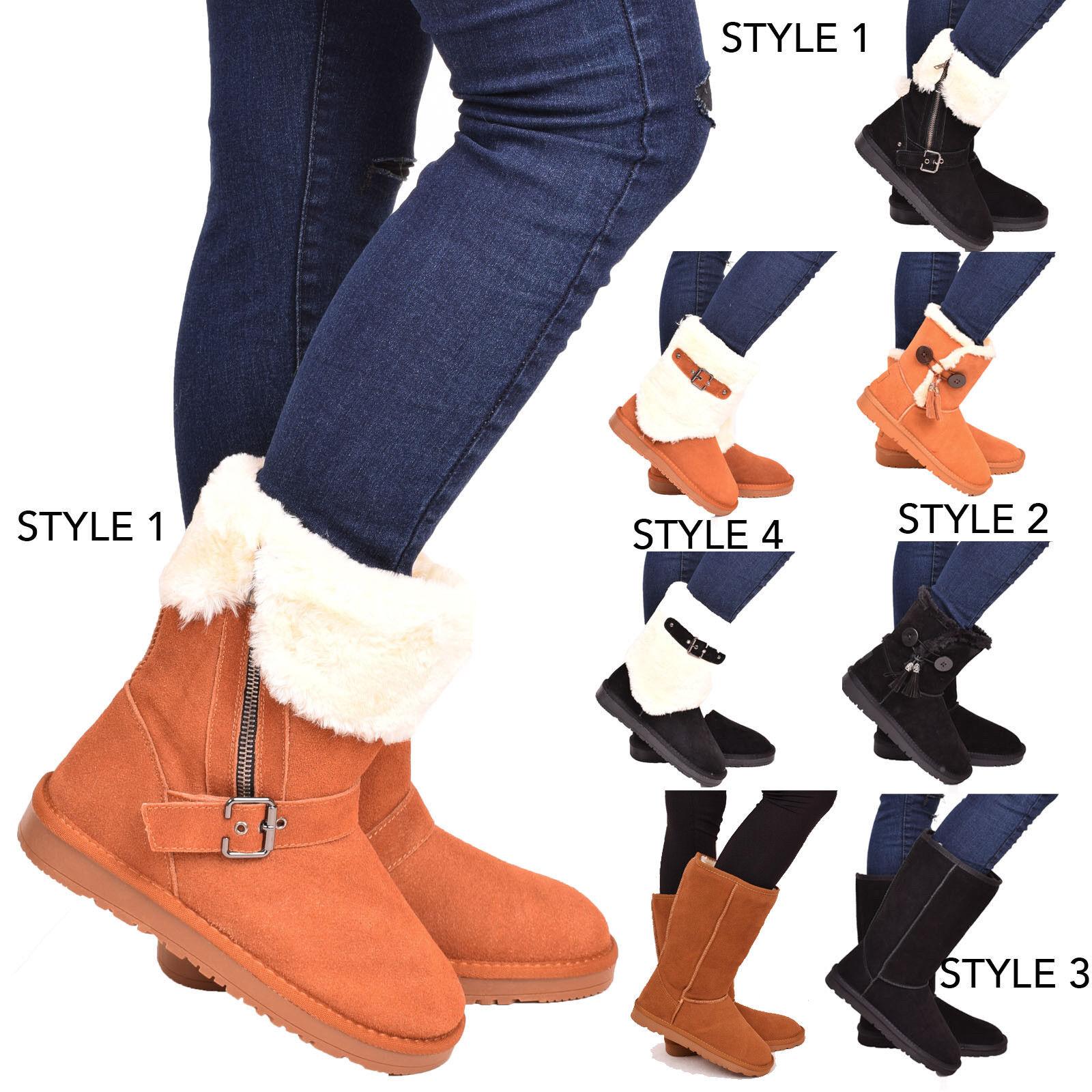 Dames femmes hiver bottes de neige en peau de mouton véritable cuir véritable cuir véritable chaussures taille 3-8