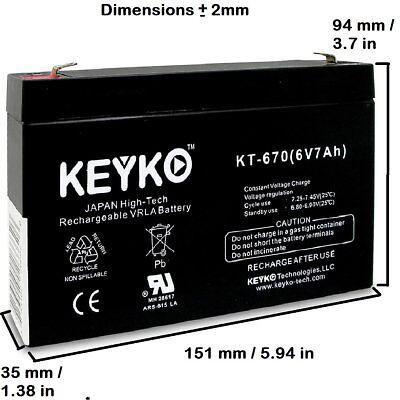 6 Volts SPS Brand 6V 7Ah Replacement Battery for Long Way LW-3FM7 Sealed Lead Acid Battery Voltage 6V