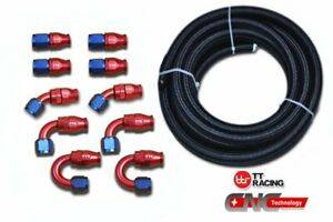 AN-10-Black-Nylon-PTFE-Fuel-Gas-Oil-20FT-10-Fittings-Hose-Swivel-E85