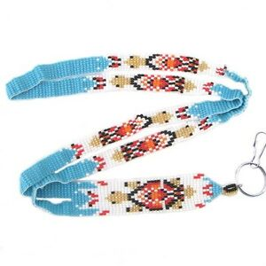 NEW-HANDMADE-BLUE-GOLD-COLOR-BEADS-TURTLE-BEADED-ID-HOLDER-LANYARD-I23-1
