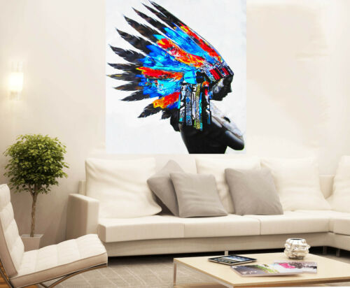 Huge American Native Indian Feather  Oil Painting Street Art Canvas Poster Print