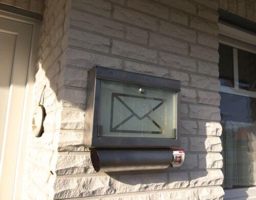 Glas Briefkasten Edelstahl tolles Design Wand-Briefkasten mit Zeitungsrolle
