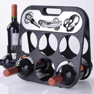 Portabottiglie Cantinetta Porta Vino per 6 Bottiglie con Accessori Somelier
