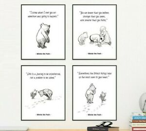 Winnie The Pooh Guardería impresiones, Conjunto de 4, Sala De Decoración Del Cuarto de Niños, 5x7 o 8x10 pulgadas
