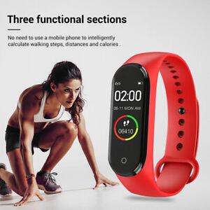 Männer Frauen M4 Smart Armband Uhr Herzfrequenz Fitness Tracker Blutdruck iOS B
