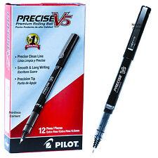 Pilot Precise V5 35334 Black Ink 0.5mm Extra Fine Rolling Ball Pen, Box of 12