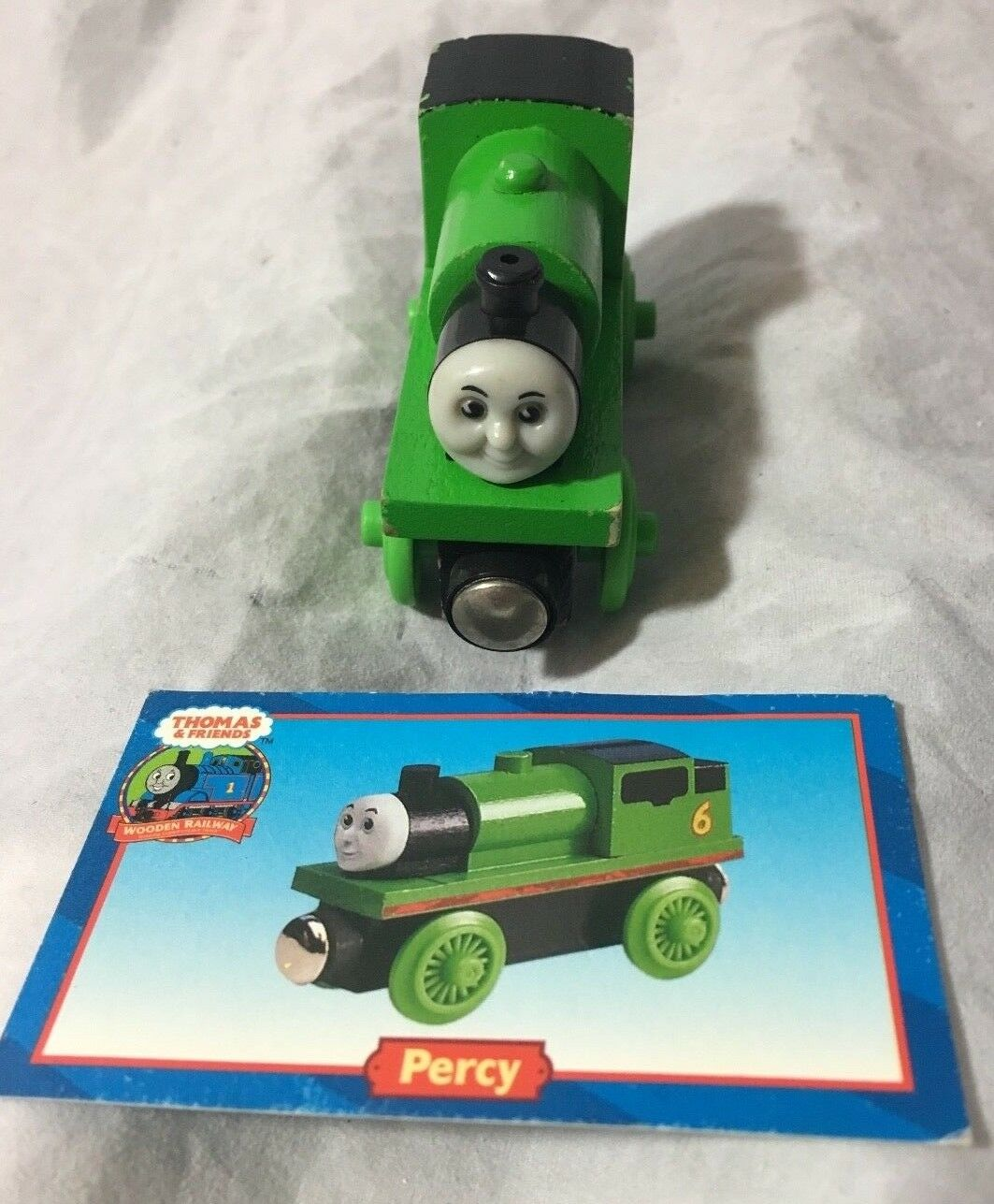 Thomas & Friends Wooden Railway 2001 PERCY  Green Engine w  Card