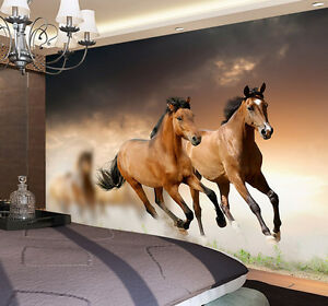 two horses running grassland full wall mural photo wallpaper printimage is loading two horses running grassland full wall mural photo