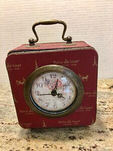 Desk-Clock-Analog-Quartz-Battery-Vintage-Storage-Box-Case-Red-Paris-de-Tour