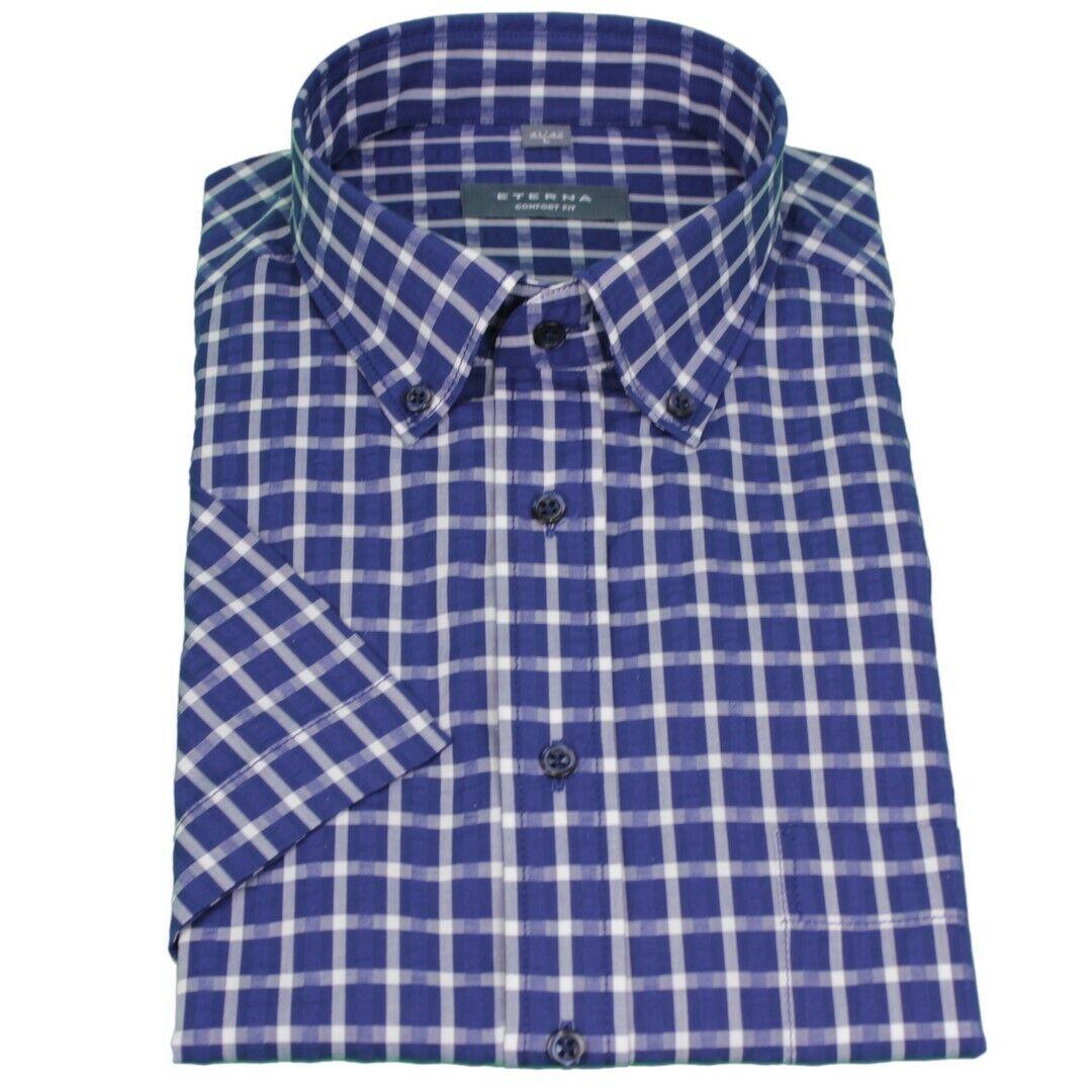 Eterna metà braccio 1 2 Camicia Maniche Corte Comfort Fit Blu Bianco A Quadri 2307 k294 18