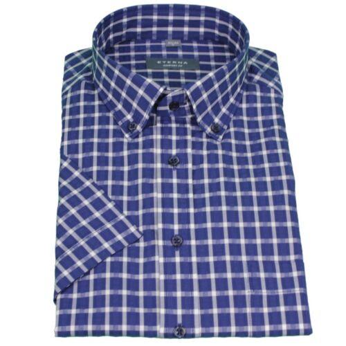 Eterna à moitié bras 1//2 Manches Courtes Chemise Comfort Fit Bleu Blanc à Carreaux 2307 k294 18