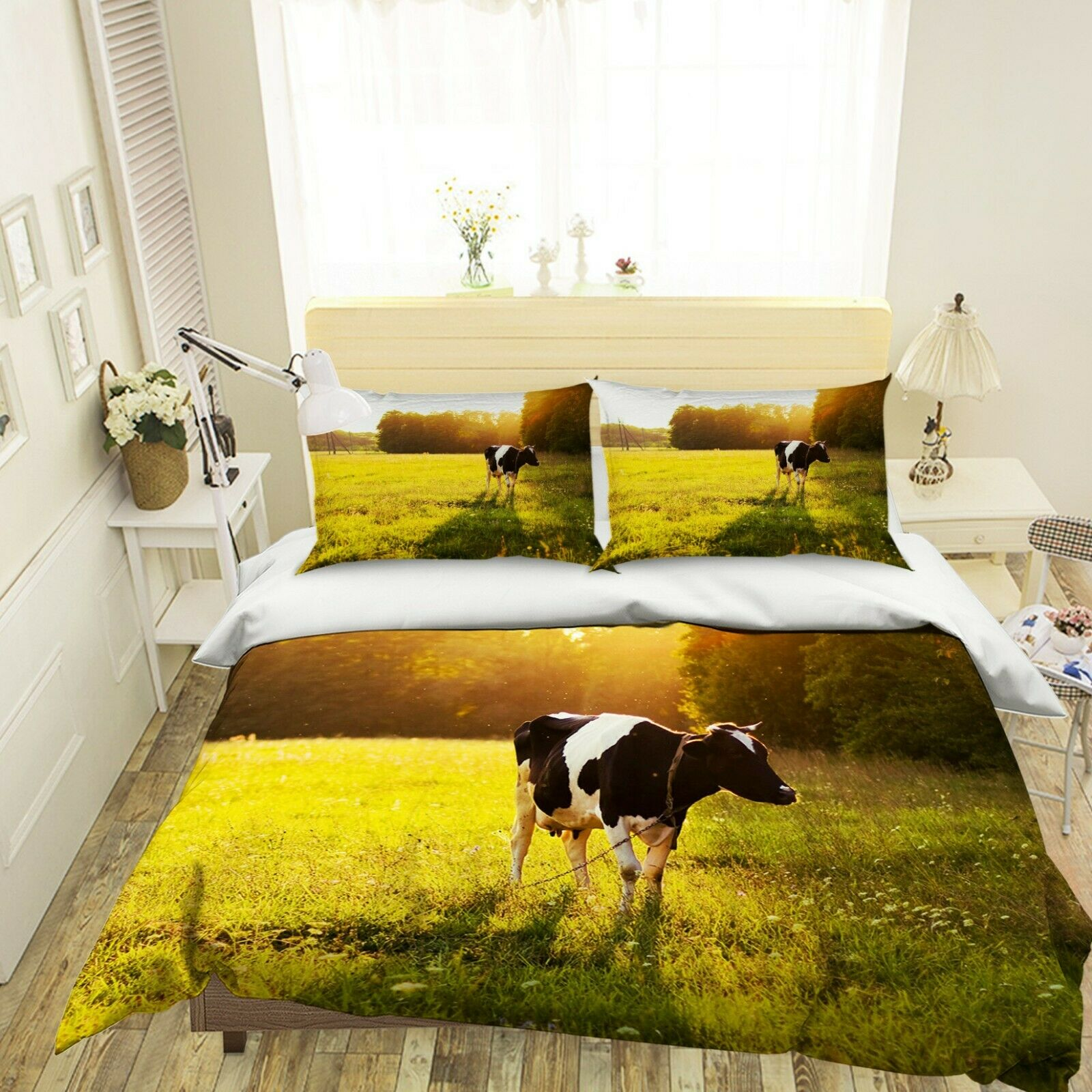 3D Mammal Cow N80 Animal Bed Pillowcases Quilt Duvet Cover Queen King Amy