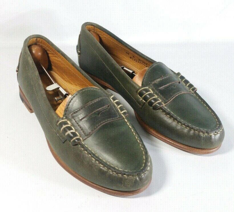 Oak Street Bootmakers Penny Loafers Olive Green Made in the USA Mens 10B Narrow