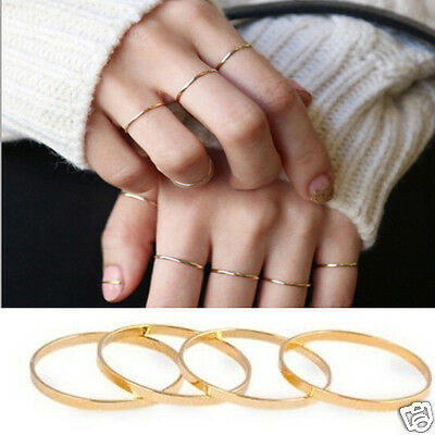5PCS Chic Korea Women Gold Stack Plain Rings Above Knuckle Ring Band Midi Ring