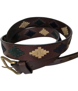034-Lujan-034-100-Argentine-Embroidered-Leather-Polo-Belt-Brown-The-Best-Quality