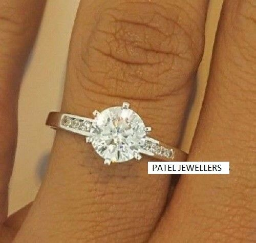 2.50Ct Round Cut Moissanite 6 Prong Fancy Engagement Ring