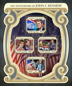 TCHAD-2017-neuf-sans-charniere-JFK-JOHN-F-KENNEDY-100th-anniversaire-4-V-M-S-les-presidents-des