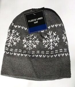 d3882e8c Details about GRAY Mens Womens KNIT FLEECE Lined Beanie Hat Cap Warm Winter  SnowFlake