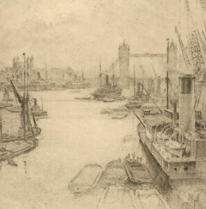 Early-20th-Century-Etching-Thames-London-IX