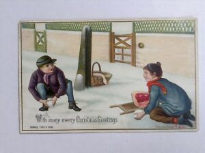 Antique-Raphael-Tuck-Christmas-Card-Victorian-Snowball-Fight-F-A-R-Signed