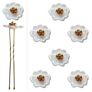 6-epingles-pics-cheveux-chignon-mariage-mariee-danse-fleur-dentelle-blanche-amp-or