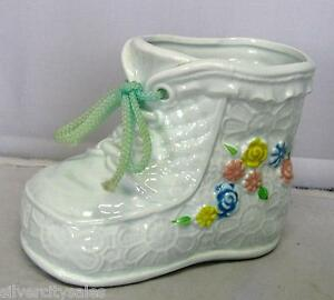 Vintage Retro Inarco Ceramic Baby Nursery Boy Blue Shoe Boot Planter Japan E6532