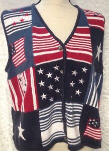 CHRISTOPHER & BANKS Sweater Vest Size L Embroidered Patriotic Americana Memorial