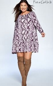 PLUS-SIZE-Women-PLUM-SNAKE-SKIN-ANIMAL-BABYDOLL-TUNIC-POCKETS-DRESS-1X-2X-3X-USA