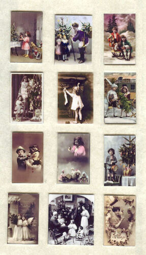 SET OF HAND-MADE DOLLS/' HOUSE 1//12TH SCALE VICTORIAN CHRISTMAS PHOTOGRAPHS