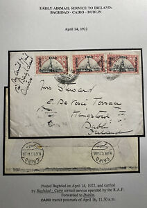 1922 British Occupation RAF Early Airmail Cover To Dublin Ireland