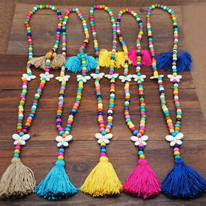 Gewebe-Frauen-Halskette-mit-Schmetterling-Lange-Kette-Anhaenger-Bunte-Holzperlen