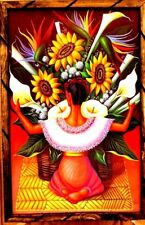 "Print//Painting Mexico Art Wood Frame Diego Rivera Vendiendo Tulipan 36/""X24/"" Huge"