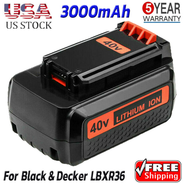 Replace For Black & Decker 40V MAX Battery 3.0Ah Lithium LBX1540 LBX2040 LBXR36