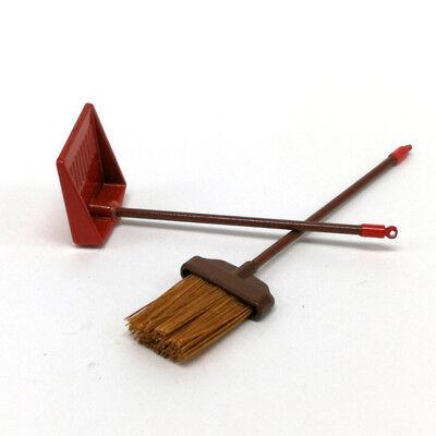 Dust Pan 2Pcs ♫ 1:12 Dollhouse Miniature Furniture Red Metal Long Handle Broom