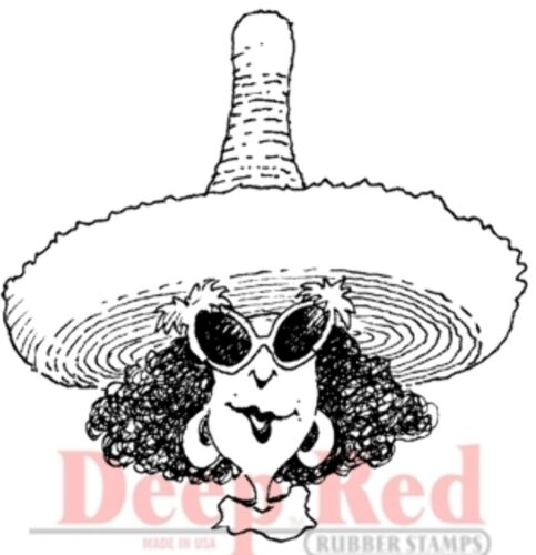 Deep Red Rubber Stamp Margarita Festive Party Girl