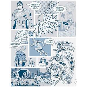 Détails Sur La Galerie Superman Batman Flash Comic Superhero Enfants Papier Peint Bleu Blanc Afficher Le Titre Dorigine