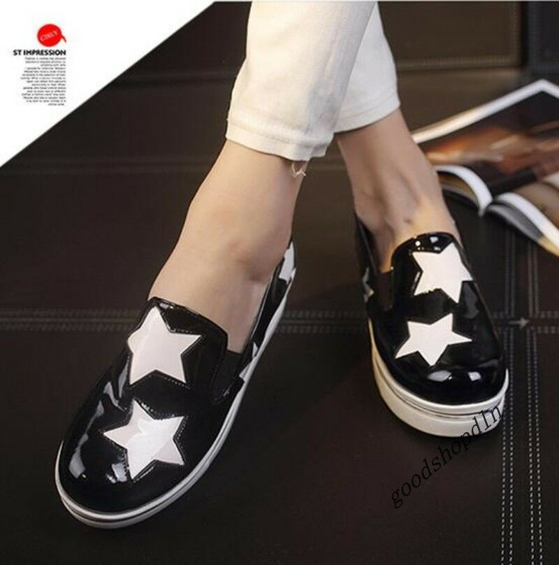 New Patent Leather Womens Toe Round Toe Womens Star Platform Slip On Creeper Casual Shoes 7 25c842