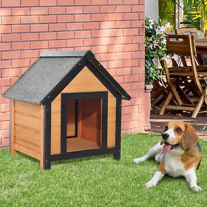 Caseta para Perro Exterior Jardín de Madera Maciza con Techo Patas 56x60.5x66cm
