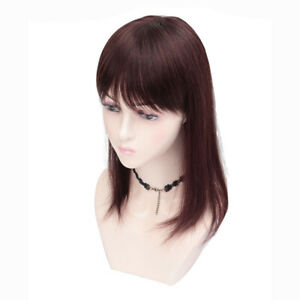 100-Human-Hair-Top-Toupee-with-Bangs-Straight-Clip-in-Hairpiece-Topper-Cover