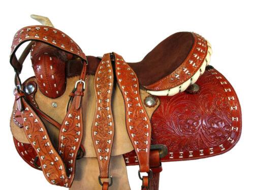 PREMIUM TOOLED WESTERN HORSE SADDLE 15 16 BARREL RACING PLEASURE TRAIL TACK SET